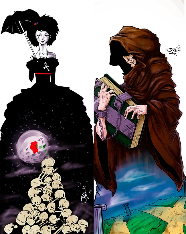 Morte (à esquerda) e Destino (à direita), de Jessé Luiz.